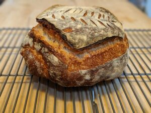 Sourdough cooling on the cooling rack